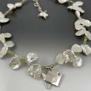 Origami Fish Necklace with Pearl