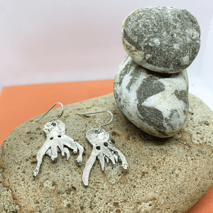 Ghost octopus origami earrings