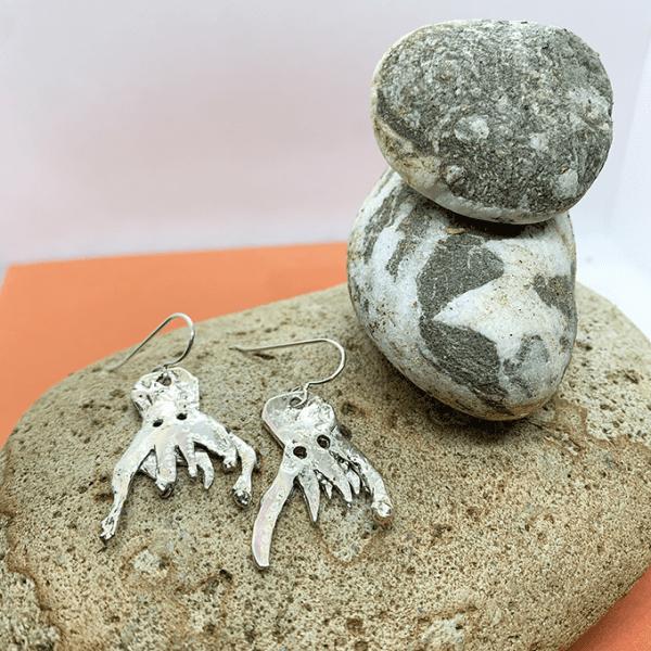 Ghost octopus origami earrings