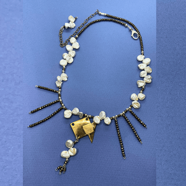 Origami Fishe with pearl and pyrite necklace
