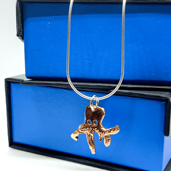 origami octopus necklace copper
