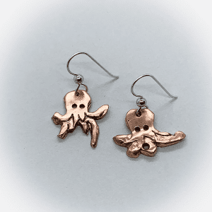 octopus earrings copper & silver