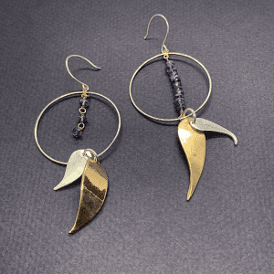 2 tone Leave earrings