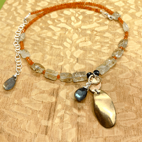 Oval with Gold Quartz Necklace