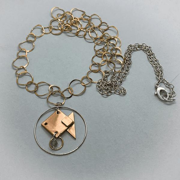 fish origami necklace 3 tone