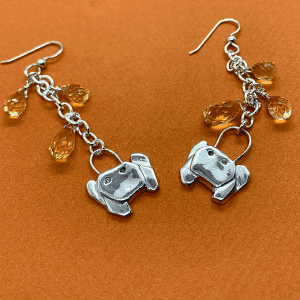 Crab origami with citrine earrings