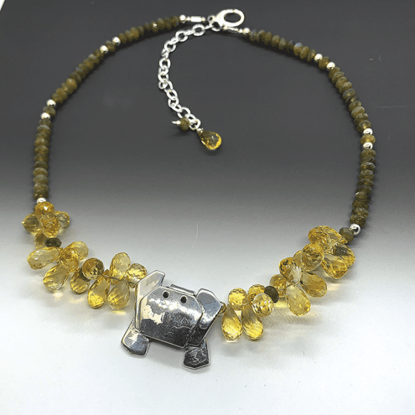 Crab origami Necklace with citrine