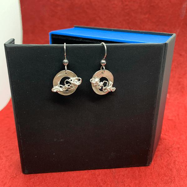 Nest Circular earrings Fine silver