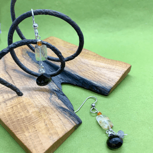 silver and Stone Quartz earrings