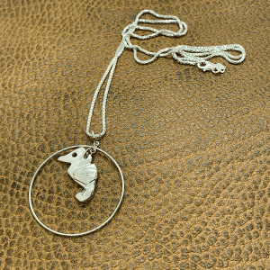 Seahorse origami with hoop necklace
