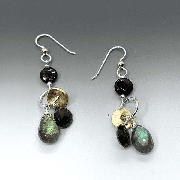 bronze and onyx earrings #1