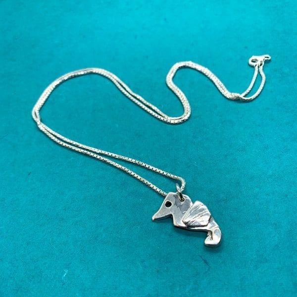 seahorse origami necklace
