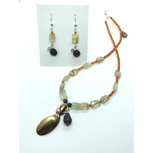 oval collection necklace and earrings