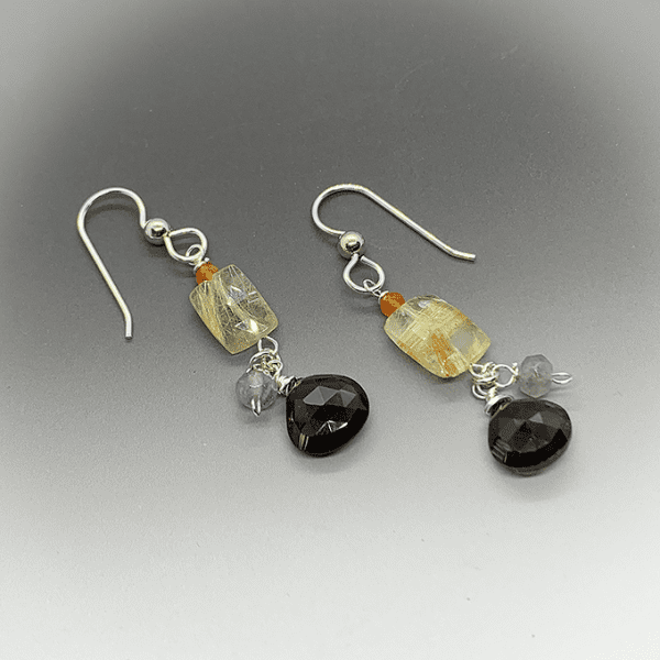 silver and stone collection earrings