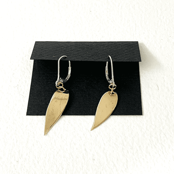 Leave collection earrings, bronze