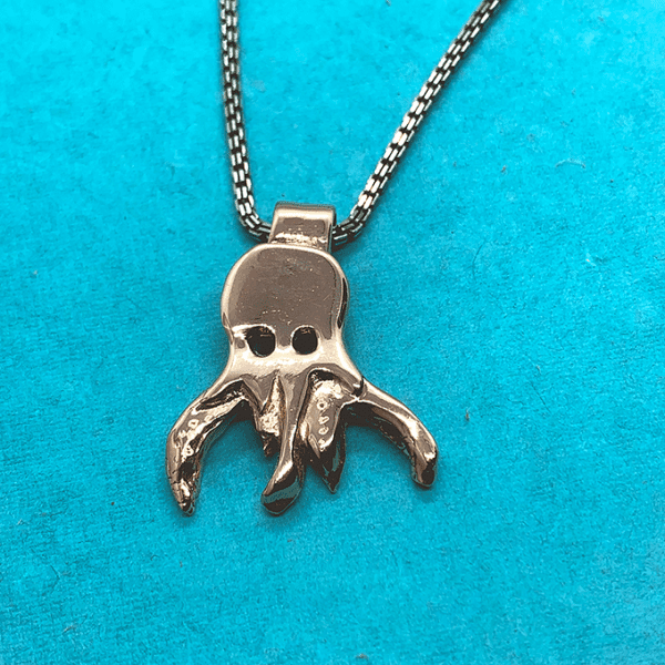 origami octopus necklace , copper, large