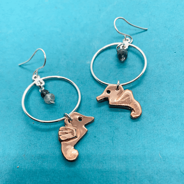 Seahorse copper origami inspired earrings with silver Hoop and stone