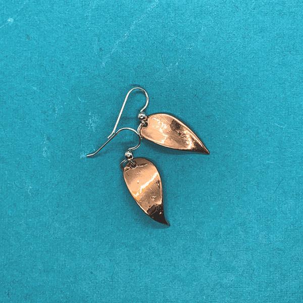 Leave Earrings, Copper