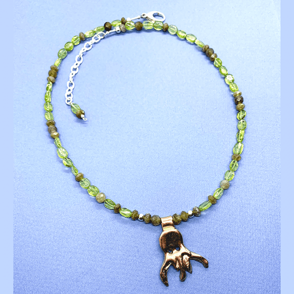 octopus copper peridot necklace