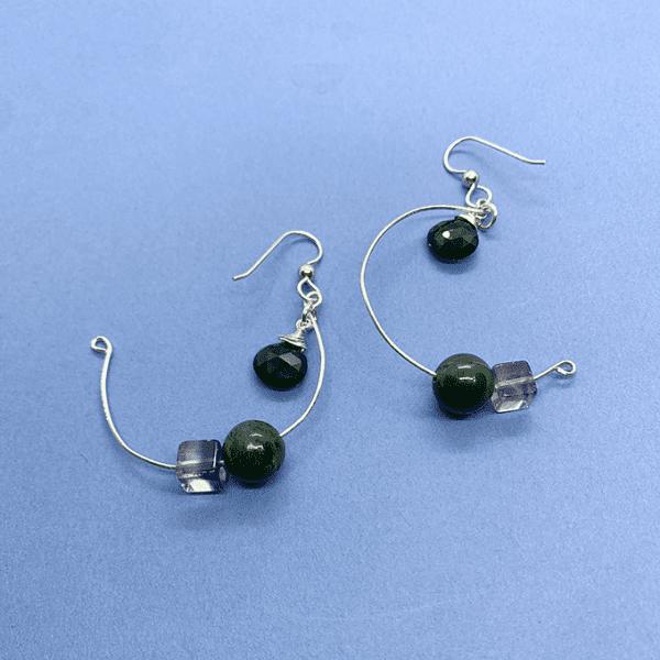 Pendulum Earrings with Black Quartz