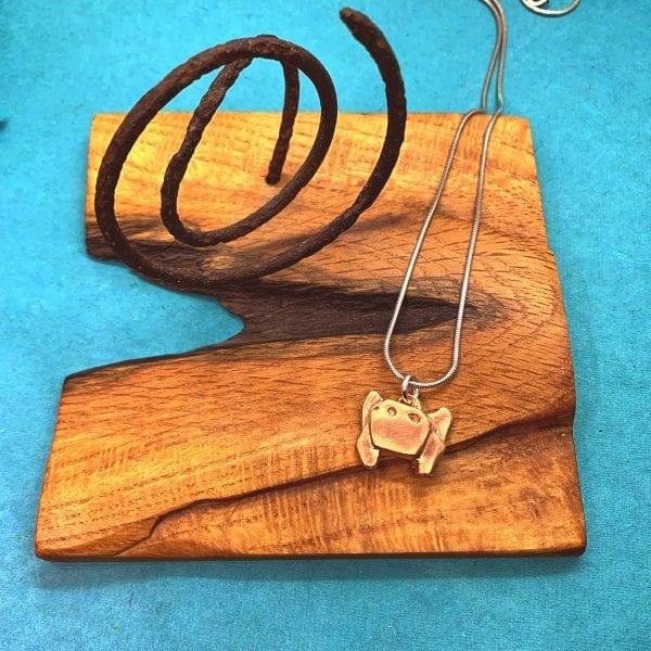 copper Crab Origami Necklace