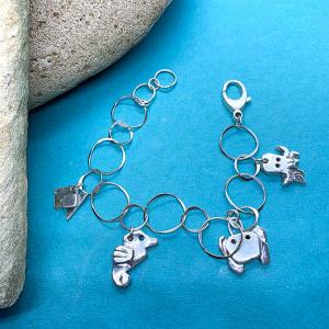 Sea Life origami Charm Bracelet, Silver