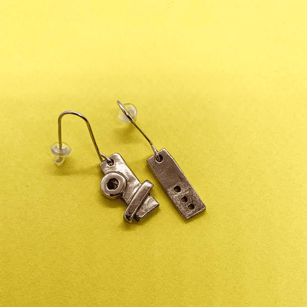 industrial Revolution earrings, copper, small