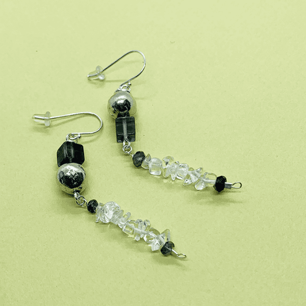 pebble earrings with crystal quartz
