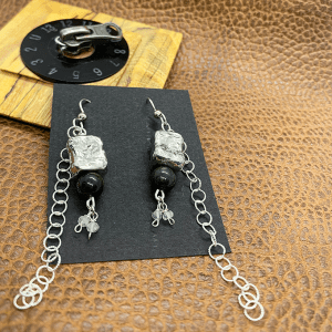 Pebble Earrings Jade and pewter