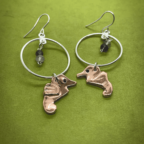 seahorse earrings coper and silver circle