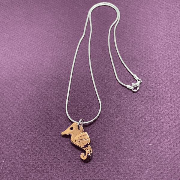 seahorse origami cain necklace copper