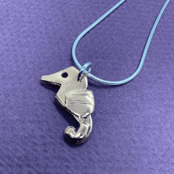 seahorse origami necklace copper