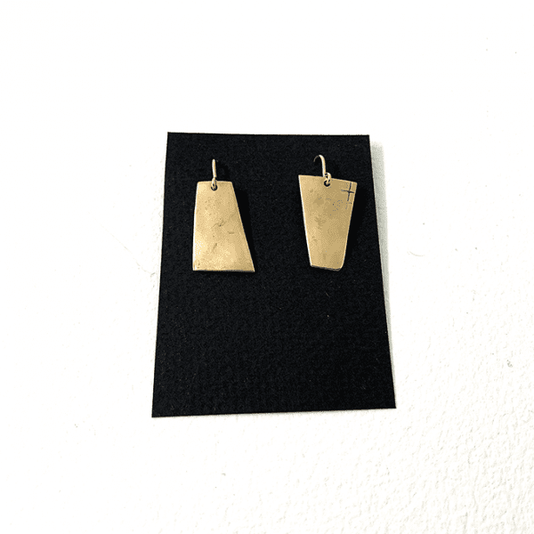 Rectangular Earrings, Bronze