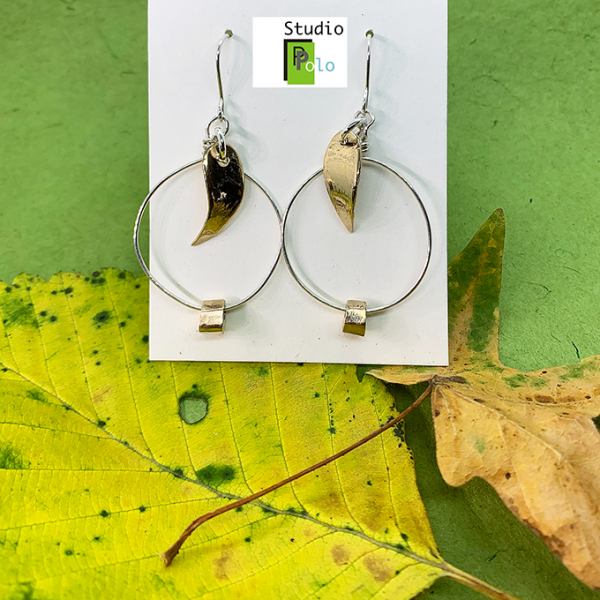 leave collection earrings, bronze and silver