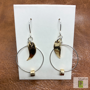 leave 2 tone bronze and silver earrings