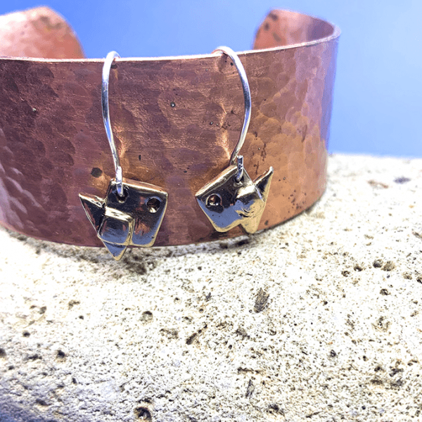 Fish Origami Tiny Earrings Bronze