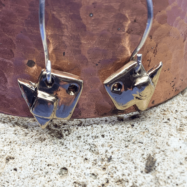 Fish origami earrings bronze
