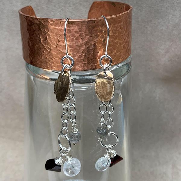 Oval Chandelier Earrings 2 tone
