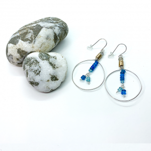 Circular earrings Bronze, silver and apatite