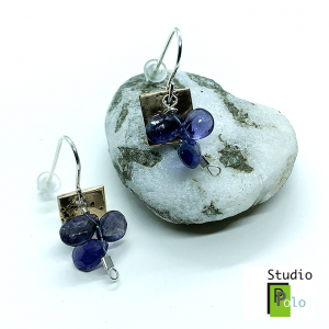 Fireworks Earrings, Bronze & Iolite