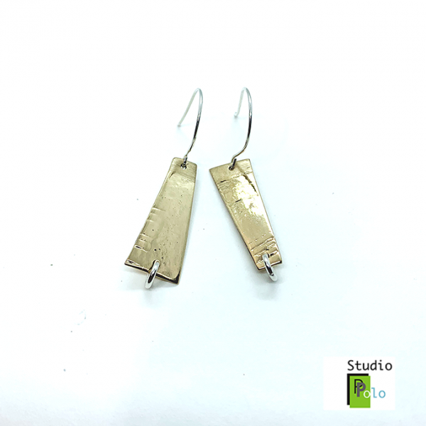 Rectangular Earrings, Bronze
