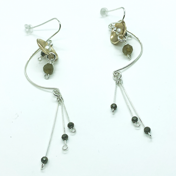 Curve 2 tone earrings , Bronze and Silver