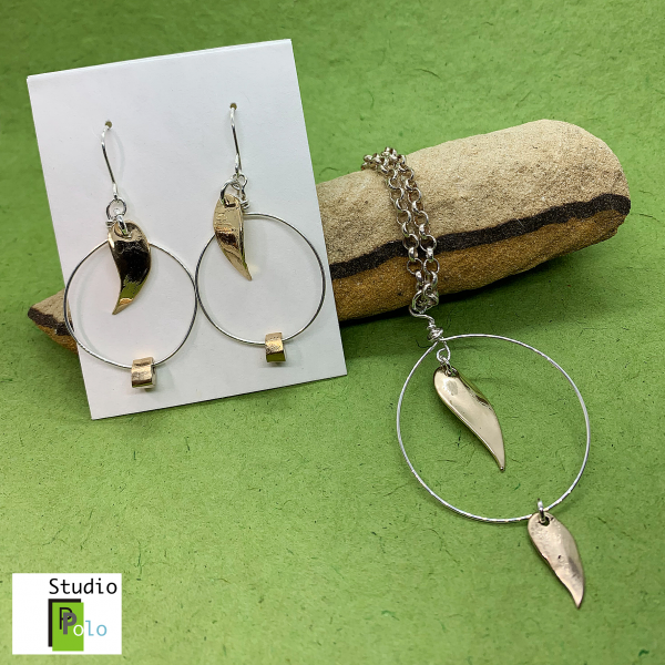 Leaf Set Necklace and Earrings