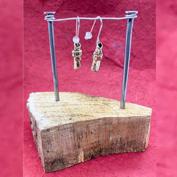 Personal Massage Earrings, Bronze