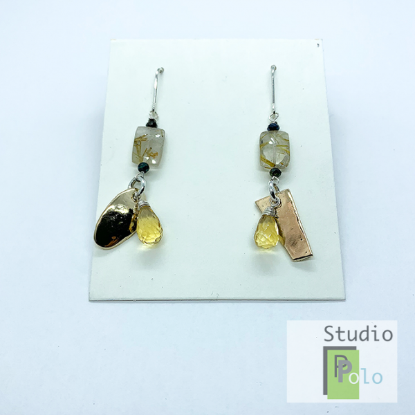 metal and stone earrings , Bronze and citrine
