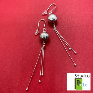 Sphere Earrings, Pewter & Silver