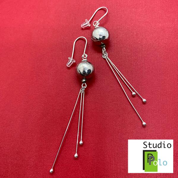Sphere Earrings, Pewter & Silver
