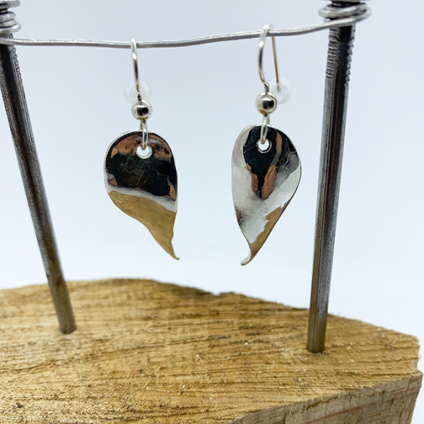 Leaf Earrings, Silver