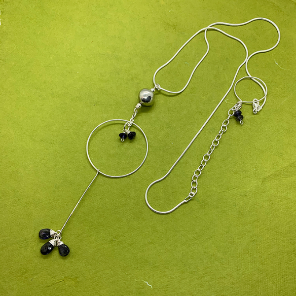 pebble necklace, pewter and silver